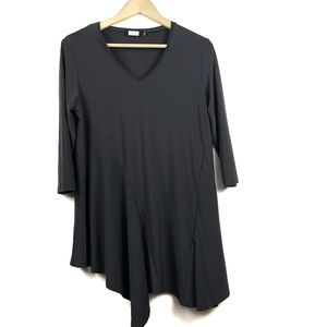 Sympli Tunic Top 10 Dark Grey Asymmetric Hem